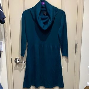 Ab Studio cowl neck sweater dress teal